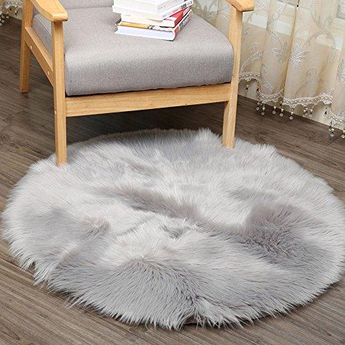 Soft Künstlicher Schaffell Wolldecke sunnymi 30 * 30CM,Weicher Nachahmung Wolle runden Matten Teppich,Schwimmende Fenstermatte,Drapierter Sessel (Grau, 30*30CM)