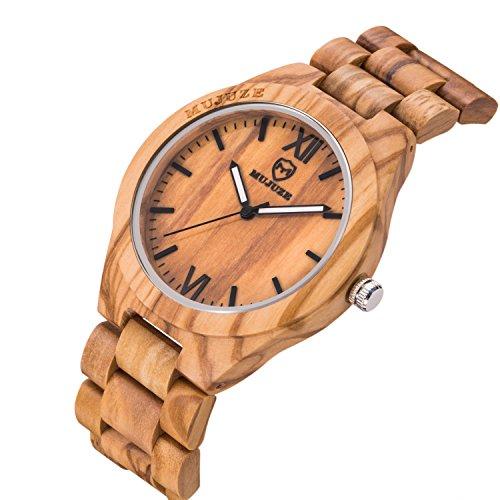MUJUZE Herren Analoge Quarz Holzkern Armbanduhren mit Olivenholz Band und Leuchtendem Zeiger ME1001Olive Wood - 5
