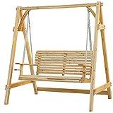 Outsunny 01–08622-Sitzer Lärche Holz Hollywoodschaukel Sitz Hängematte Bench–Liege, natur