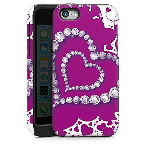 Apple iPhone 5 Housse Étui Silicone Coque Protection C½ur Amour Amour Cas Tough brillant