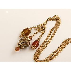 Halskette mit drei Anhängern in braun gold
