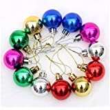 Indigo Creatives Mirror Shine Break Resistant Plastic Multicolor Ball Pack Of 12 Pieces For Home / Office Christmas Tree Decoration Ornamental Bells (Pack Of 12)