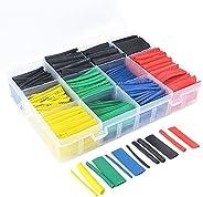 مجموعة مكونة من 530 كم عزل اسلاك وكيبلات الكترونية ينكمش بالحرارة بنسبة 2:1 من البوليولفين بالوان متعددة