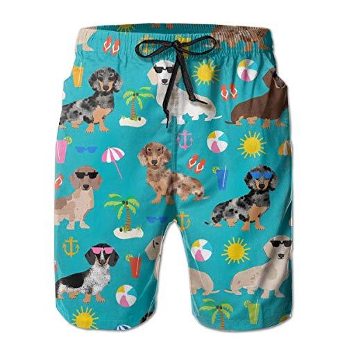 akingstore Herren Badehose 3D gedruckte Strand Board Shorts mit Taschen Coole Neuheit Badeanzüge für Teen Boys - Dackel Hund -