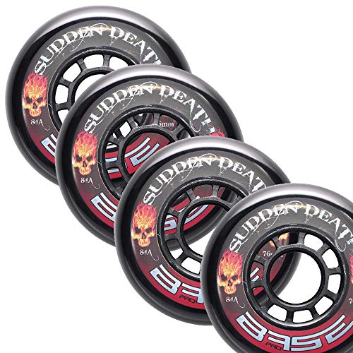 "Base Inline Hockey Rollen ""Sudden Death\"" 76mm, 84A 4er Set"