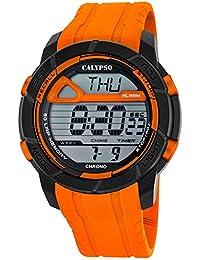 e16bc8879570 Calypso hombre-reloj deporte digital PU-Armband Esfera de colour negro y  naranja cuarzo
