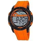 Calypso Herren-Armbanduhr Sport digital PU-Armband orange Quarz-Uhr Ziffernblatt schwarz orange UK5697/3