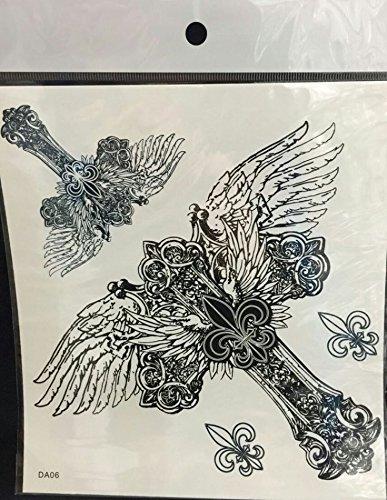 Grashine Große Engelsflügel Kreuz temporäre Tattoos für ()