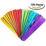Paxcoo 100 Pcs Jumbo Bastoncini Artigianato del Legno Multicolored per Wedding Programma Fan Maniglie e Altri Mestieri di Legno