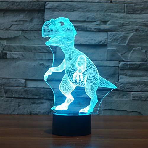 3D Lampe Illusion Optique LED Veilleuse, EASEHOME Optiques Illusions Lampe de Nuit 7 Couleurs Tactile Lampe de Chevet Chambre Table Art Déco Enfant Lumière de Nuit avec Câble USB, Dinosaure-2