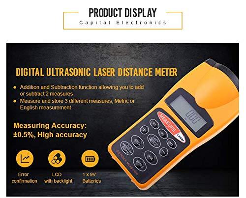 Ultraschall-scanner (Ultraschall-Entfernungsmesser Handheld-Entfernungsmesser elektronisches Messgerät Multifunktions-Entfernungsmesser Messung linearen Abstand 0,50 m-18 m, geeignet für BAU, Dekoration, Technik)