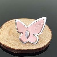 Tangpan 10pcs 2,4cm * 2.8cm farfalla Hollow strass pulsanti/buckleor fai da te ciondolo per fai da te accessori per capelli Pink