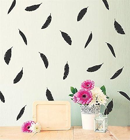 Yanqiao 12Pcs/set Herrliche Federn für Kinderzimmer Mode Dekoration Vinyl Entfernbare Hauptdekoration Wand Aufkleber DIY Materialien, Schwarz