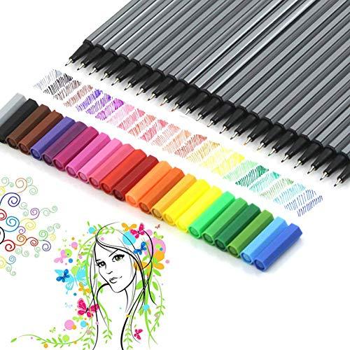 Set di 24 pennarelli colorati dalla punta fine da 0,4 mm, vivaci colori assortiti, per adulti, per colorare libri e per disegno