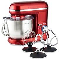VonShef 800W Küchenmaschine Rührmaschine Knetmaschine - 5,5L Rührschüssel mit Spritzschutz – Inklusive Flachrührer, Knethaken & Schneebesen - Rot