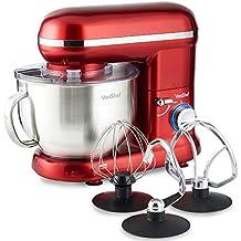 VonShef 800W Küchenmaschine Rührmaschine Knetmaschine - 3,5L Rührschüssel mit Spritzschutz – Inklusive Flachrührer, Knethaken & Schneebesen - Rot