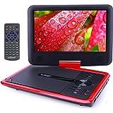 """ieGeek 9.5 """"Reproductor de DVD Portátil, para Niños / Ancianos, CD MP3 Multimedia Video, 2500mAh Batería Interna, con Cargador de Coche y Joystick de Juego, Rojo"""
