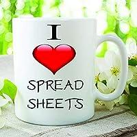 Divertido de la novedad taza I Love hojas de cálculo contador broma taza de café y