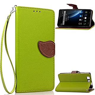 akldigital Case PU Leather Slim Stand Wallet Cover With ID / Cash / Card Slots for Doogee X5 X5 Pro X5C X5S, Green Color