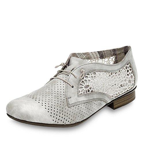 Rieker 51928, Derby Femme Grau (grey/offwhite / 40)