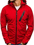 BOLF Herren Softshell Jacke mit Kapuze Sportjacke Outdoor Nature 4846 Rot L [4D4]