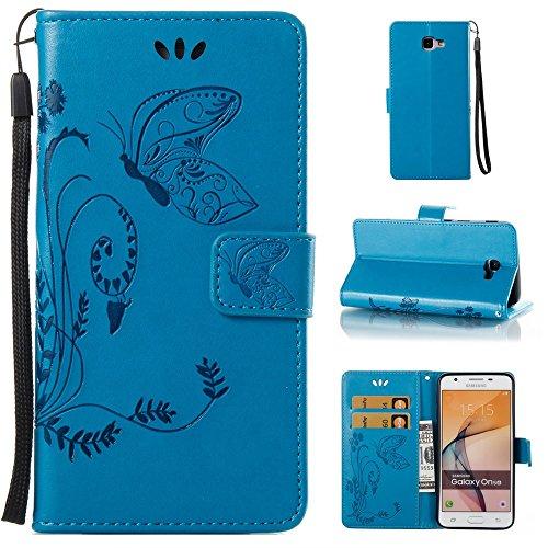 EKINHUI Case Cover Horizontale Folio Flip Stand Muster PU Leder Geldbörse Tasche Tasche mit geprägten Blumen & Lanyard & Card Slots für Samsung Galaxy J5 Prime ( Color : Rose ) Blue