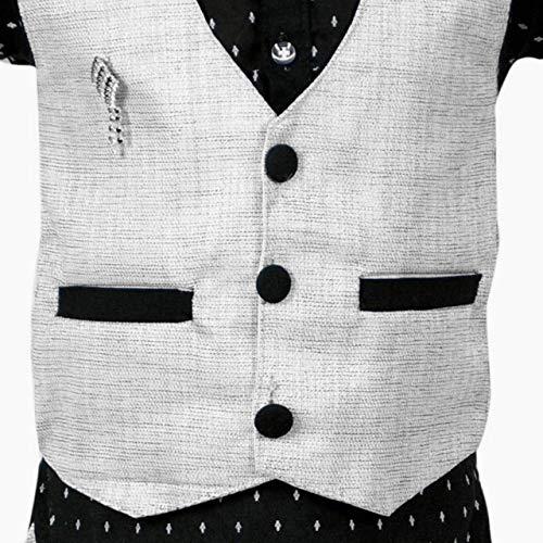 AHHAAAA Boy's Cotton Waistcoat Shirt and Pant Set for Kids (Dark Grey,7-8 Years)