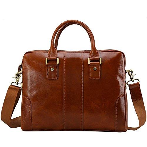 Ybriefbag Herren Laptoptasche Männer Vintage Style Leder Handtasche Business Aktentasche 14-Zoll-Notebook-Tasche Schulter Messenger Tote Bag Umhängetasche (Buckle Tote)