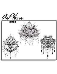 "Tatouage Temporaire ""The 3 Lotus"" - ArtWear Tattoo - B9963 M"