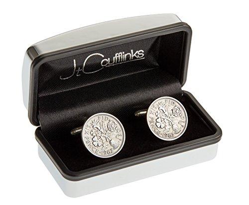 Birthdate 1967 coin cufflinks 50th birthday gift / present in 2017 in chrome box.