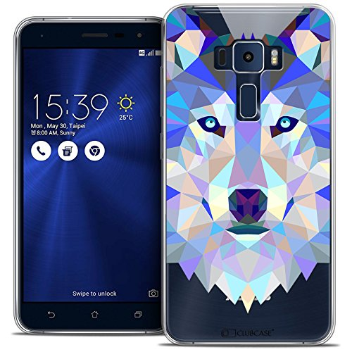 Caseink - Coque Housse Etui Asus Zenfone 3 ZE552KL (5.5 ) [Crystal Gel HD Polygon Series Animal - Souple - Ultra Fin - Imprimé en France] Loup
