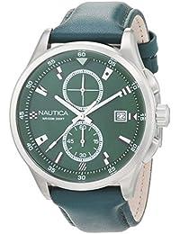 d3f58e231c32 Nautica Reloj Analógico para Hombre de Cuarzo con Correa en Cuero  0656086081244