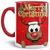 Tassendruck Weihnachtstasse Merry Christmas/Farbtasse Innen und Henkel Rot mit Rentier - Qualität Made in Germany