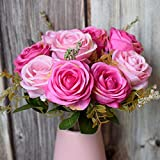 YCJCG 9 köpfe Seide Künstliche Rose Blumen Bouquet DIY Hochzeitsdekoration Papierblume Für...