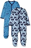 Pippi 2er Pack Baby Jungen Schlafstrampler mit Aufdruck, Langarm mit Füßen, Alter 18-24 Monate, Größe: 92, Farbe: Blau, 3821