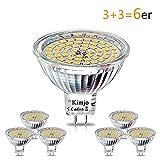 6 x MR16 GU5.3 LED Kimjo Lampe,5W ersetzt 50W Glühlampe, Warmweiß 2800K,450 Lumen,Nicht dimmbar,Leuchtmittel 120°, 12V AC/DC, 60 x 2835 SMD