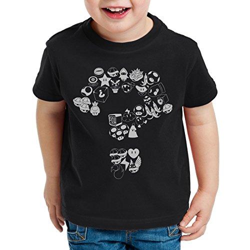 A.N.T. Mario Items T-Shirt für Kinder level videospiel konsole super world, Farbe:Schwarz;Größe:152