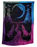 Crying Wolf of The Moon Tie Dye Tapestry wall hanging Bohemian Bed Sheet ...