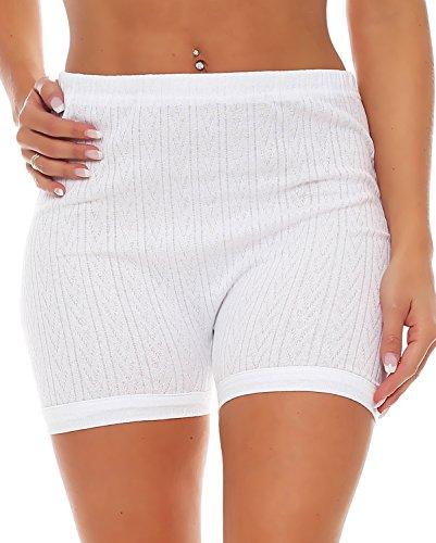 3er Pack Damen Slip mit Bein oder ohne Bein, weiß oder mit Blumen Muster (Schlüpfer, Unterhose) 438-444 442