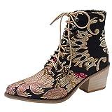 Damen Ankle Boots Pointed Toe Retro Blockabsatz Stiefel, Selou Square Heel Stickerei Wildleder...