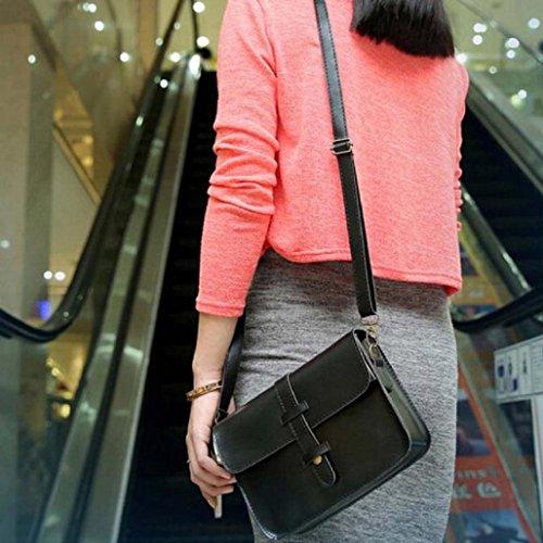 BZLine® Femme Sac à Main en Cuir Artificiel | Sacs Bandoulière à Couleur Vintage | Taille: 21*15*6CM B