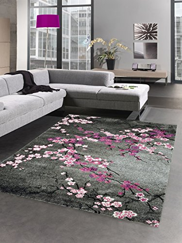 Designer Teppich Kurzflor Blumen grau pink rosa Größe 120x170 - Küche-teppich-blumen
