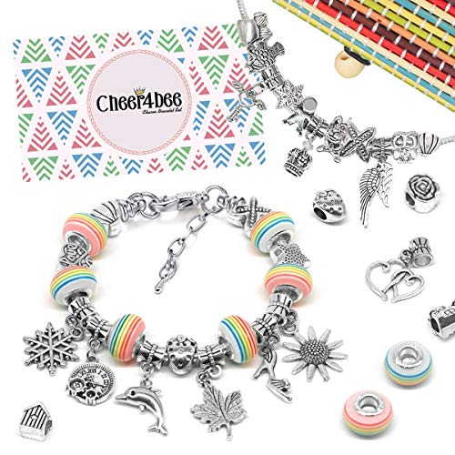 Cheer4bee Charm Armband Kit DIY - Geschenk für Mädchen Teens, adventskalender zum befüllen mädchen adventskalender 2019, Armband Mädchen Geschenk 8-12 Jahre, Schmuck Bastelset Mädchen(3 Silber Kette)