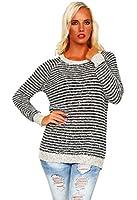 10198 Fashion4Young Damen Langarm-Pullover aus softem Strick Long Pulli verfügbar in 3 Farben