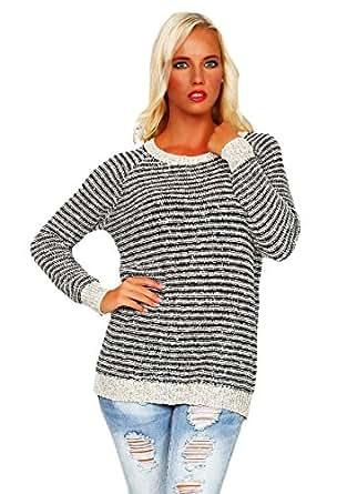 10198 Fashion4Young Damen Langarm-Pullover aus softem Strick Long Pulli verfügbar in 3 Farben (36/38, Beige Schwarz)