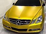 3D Chrom Matt GOLDEN YELLOW Metallic mit Luftkanälen ,Car Wrapping, Folie, Gelb 0,5m x 1,52m