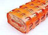 Warnzaun, Bauzaun, Absperrzaun Heavy, 280g/m², 1 x 50m, orange + 10 rostfreie Stahlstangen Ø8mm, 1.30m, zur Absicherung und Kennzeichnung von Baustellen, Gefahrenzonen, Loipen u.a.