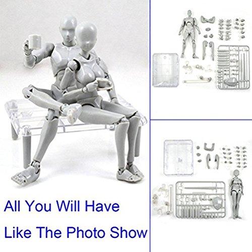 Body Kun, Yefun Human Mannequin 2.0 Körper Kun Puppe Body-Chan Mann / Frau Action-Figur DX-Set, ideal zum Zeichnen, Skizzieren, Malerei (Female/Male)