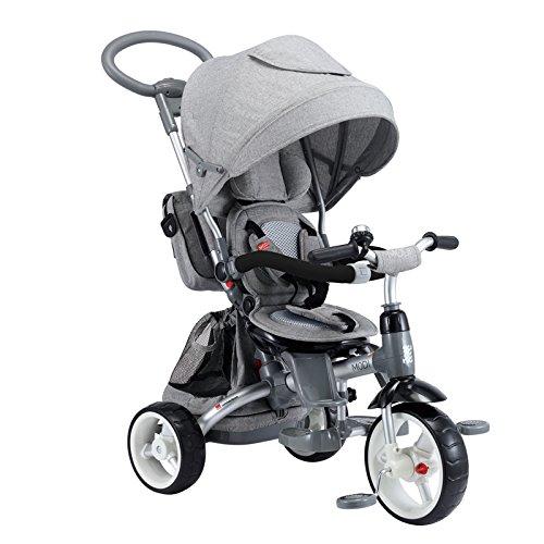 Mondial Toys Triciclo Passeggino con Sedile Girevole 6 in 1 Modi New Grigio