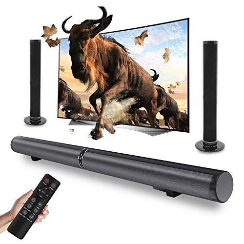 A-TION Soundbar, LP-1807 Trennbar Verkabelt & Kabellos Bluetooth 4.2 Lautsprecher mit 50W Heimkino System für TV,PC,Tablet,Smartphone (Fernbedienung, 2.1 Kanal, Split, Integral und Wandmontage)